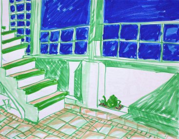 Terrace at hostel sketch