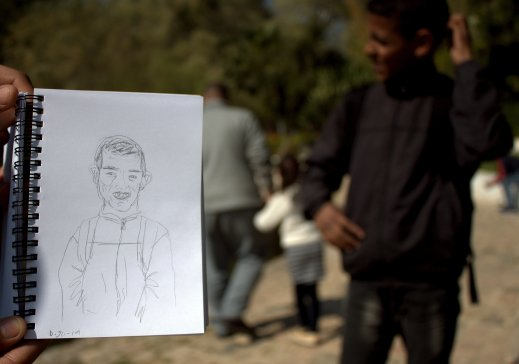The sketch with the boy in the background.