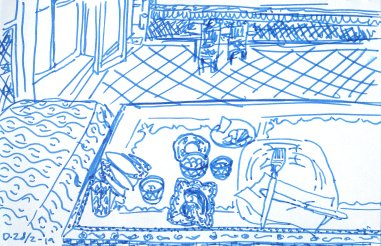 Sketch of my big breakfast at the hostel
