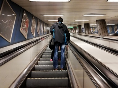 Leaving the Budapest metro stop