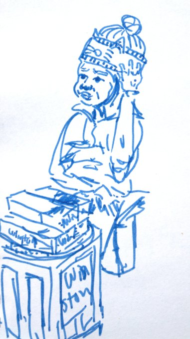 Sketch of girl selling cigarets in the street