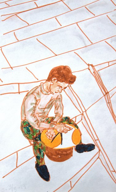 Young man working with copper.