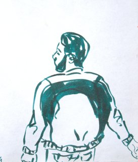 Sketch of man on the street.