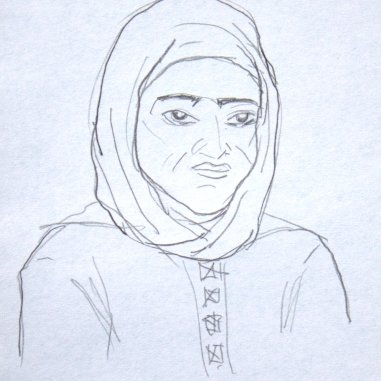Sketch of woman in the street