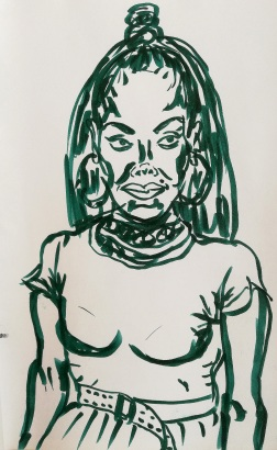 Sketch after photo of Janet Jackson seen in free magazine